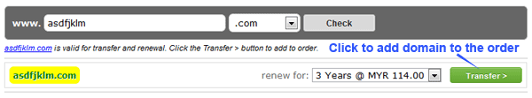 Add the domain to transfer