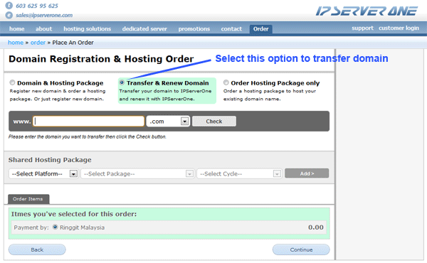 Order a domain transfer and renewal