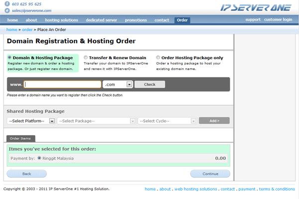 Step 1: Enter Domain Registration & Hosting Order page