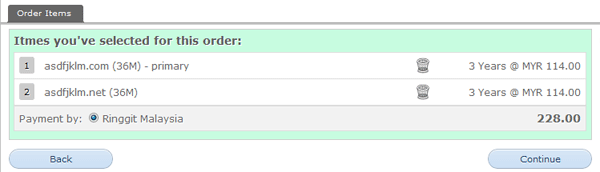 Step 5: Multiple domains added to order