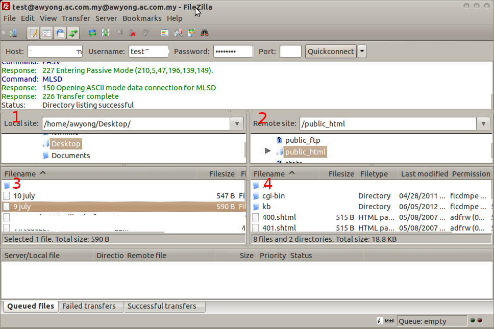 How to upload files using FileZilla client (Linux
