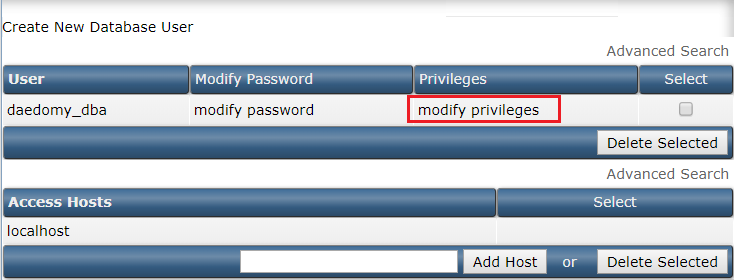 How to change MySQL database user privileges (DirectAdmin