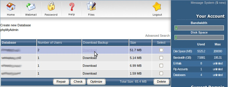 How to download MySQL database backup (DirectAdmin) | IPSERVERONE