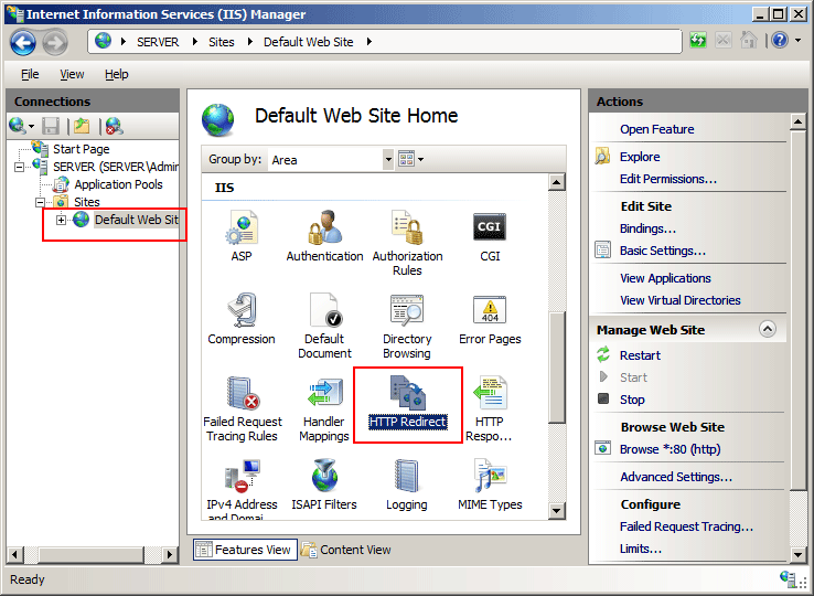 How To Add HTTP Redirect Rule To A Website Using IIS