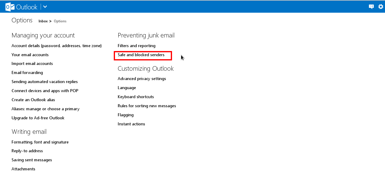 How to whitelist or blacklist email address in Hotmail