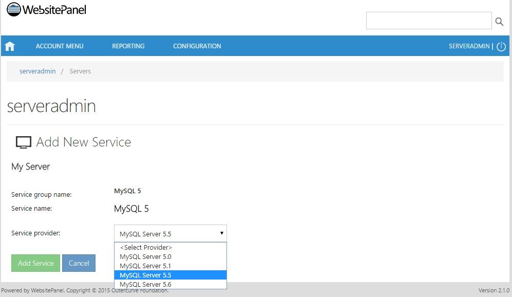 Add MySQL Service on WebsitePanel   IPSERVERONE