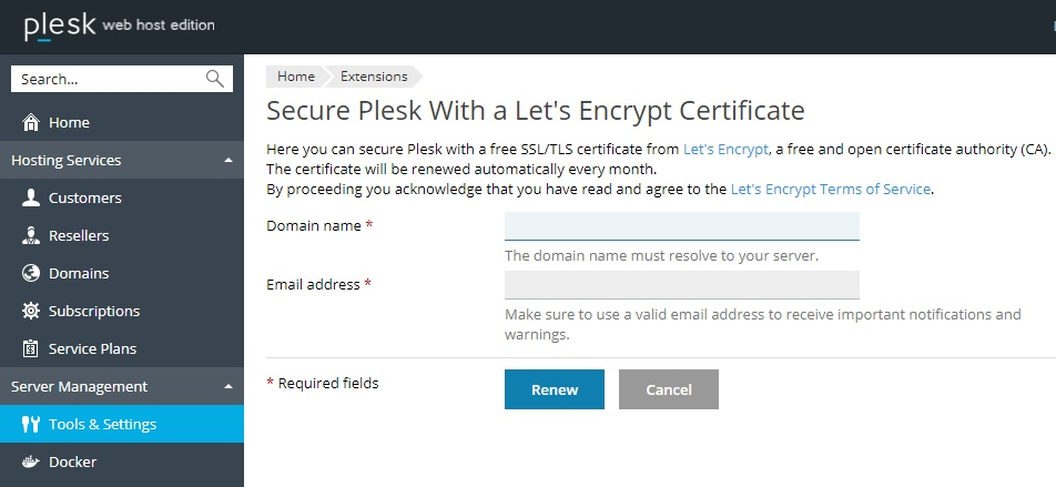 Renew Let's Encrypt SSL for Plesk Login page | IPSERVERONE